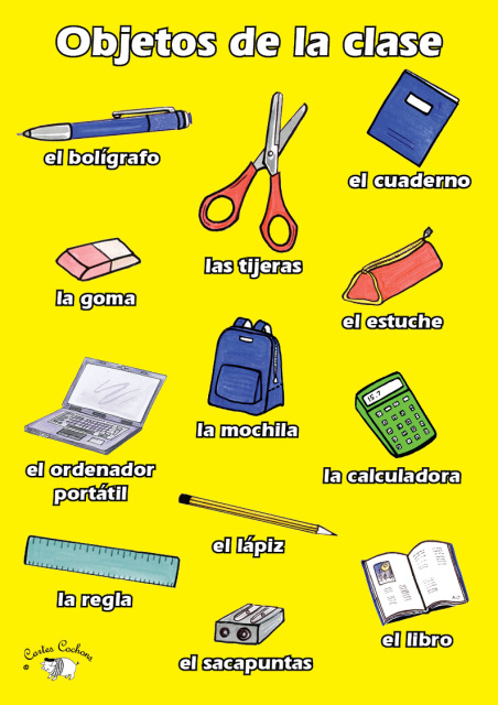 Spanish classroom objects for 10 objetos del salon de clases en ingles